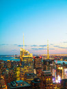 New york city cityscape at sunset birds eye view in the night Stock Photo