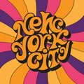 New York city.Classic psychedelic 60s and 70s lettering. Royalty Free Stock Photo