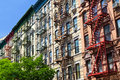 New york city colorful buildings row of in manhattan Royalty Free Stock Photos