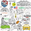 New York city doodles elements. Hand drawn set with, taxi, coffee, hotdog, statue of liberty, broadway, music, coffee, newspaper,