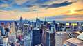 New york city at dusk usa midtown skyline Stock Photos