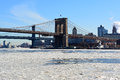 New york city ice chunks on the east river because of freezing temperatures in the northeast Stock Images