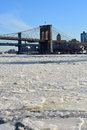 New york city ice chunks on the east river in lower manhattan Royalty Free Stock Images