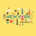 New York City icons and typography design Royalty Free Stock Photo