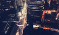 New York City intersection at night Royalty Free Stock Photo