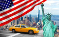New York City with Liberty Statue ad yellow cab Royalty Free Stock Photo