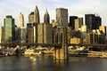 New york city manhattan with brooklyn bridge and skyscrapers over hudson river in the morning Stock Photography