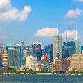 New york city manhattan buildings skyline of in lower downtown business district Royalty Free Stock Photography