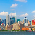 New york city manhattan buildings skyline of in lower downtown business district Royalty Free Stock Photo