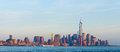 New york city manhattan buildings view skyline panorama of lower downtown business district Royalty Free Stock Images