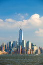 New york city manhattan buildings view skyline panorama of lower downtown business district Stock Photos