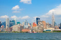 New york city manhattan buildings view skyline panorama of lower downtown business district Stock Image