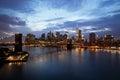 New York City Manhattan Downtown with Brooklyn Bridge at dusk Royalty Free Stock Photo