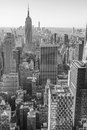 New York City, Manhattan downtown skyline, black and white Royalty Free Stock Photo