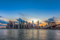 New York City Manhattan downtown skyline and Brooklyn bridge Royalty Free Stock Photo