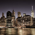 New York City Manhattan downtown skyline at night Royalty Free Stock Photo