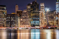 New York City Manhattan Downtown skyscrapers skyline at the night Royalty Free Stock Photo