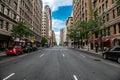 New York City Manhattan empty street at Midtown at sunny day Royalty Free Stock Photo