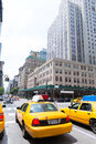 New york city manhattan fifth avenue th av us yellow taxi cab Royalty Free Stock Photos