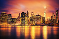 New York City Manhattan midtown at sunset Royalty Free Stock Photo