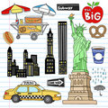 New York City Manhattan Notebook Doodle Vector Set Royalty Free Stock Photos