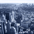 New York City, Manhattan Skyline aerial panorama view with skyscrapers. Black and White Royalty Free Stock Photo