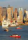 New York City Manhattan skyline and boat Royalty Free Stock Images