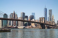 New York City manhattan skyline Brooklyn Bridge Royalty Free Stock Photo