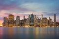 New York City - Manhattan skylines at evening time, great illumi Royalty Free Stock Photo