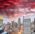 New york city manhattan skyscrapers skyward view Royalty Free Stock Photography