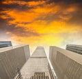 New york city manhattan skyscrapers skyward view Royalty Free Stock Photo