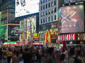 New york city manhattan time square night times is featured with broadway theaters and led signs as a symbol of and the united Stock Photo