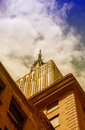 New york city may the empire state building view from str street level in nyc is a story landmark and Stock Images