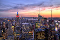 New York City Midtown with Empire State Building at Dusk Royalty Free Stock Photo