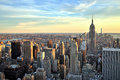 New york city midtown with empire state building at sunset cityn Stock Images