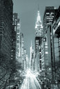 New York City at night - 42nd Street with traffic, black and wh Royalty Free Stock Photo