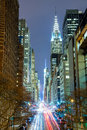 New York City at night - 42nd Street with traffic, long exposure Royalty Free Stock Photo