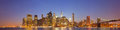 New York City night panorama with Brooklyn Bridge Royalty Free Stock Photo