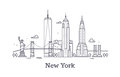 New York city outline skyline, nyc line silhouette, usa tourist and travel vector concept Royalty Free Stock Photo