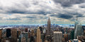 New york city panoramic panorama the view shows lower manhattan which includes the empire state building and one world trade Stock Photography