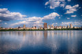 New york city panoramic view of modern buildings from central park with jacqueline kennedy onassis reservoir Royalty Free Stock Images