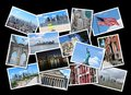 New york city postcard collage from usa collage includes major landmarks like brooklyn bridge statue of liberty manhattan skyline Royalty Free Stock Photos