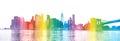 New York City -  rainbow colors silhouette of Manhattan skyscrap Royalty Free Stock Photo