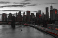New York City Red Lights in Black and White Royalty Free Stock Photo