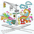New York City Sidewalk Notebook Doodle Vector Set Stock Photography