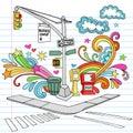 New York City Sidewalk Notebook Doodle Vector Set