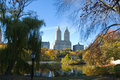New york city skyline and central park in autumn colorful trees leaves with Stock Photography