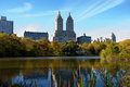 New york city skyline and central park in autumn colorful trees leaves with Stock Image