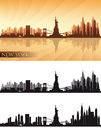 New york city skyline detailed silhouettes set vector illustration Stock Photos
