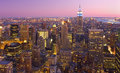 New York City skyline at dusk, NY, USA Royalty Free Stock Photo